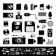 Stock Illustration of technology and storage icons set