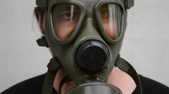 Man With Gas Mask on Face - stock footage