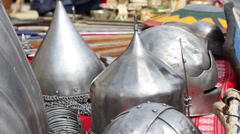 Middle Age War Helmets Stock Footage