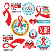 AIDS - vector badges collection. Vector set. Stop AIDS signs set. Stock Illustration