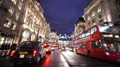 London Regent street in the evening great blue sky - stock footage