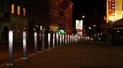 Nighttime Empty Sidewalk Stock Footage