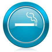 Cigarette blue icon nicotine sign. Stock Illustration