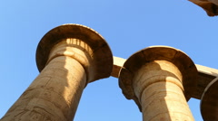 Top of columns in karnak temple with ancient egypt hieroglyphics Stock Footage