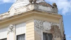 Old Building Facade in Ruin Stock Footage