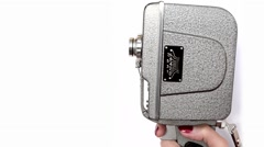 Old Hand Held Reel Film Camera 1 Stock Footage