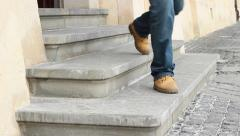 Old Stone Steps Entrance Stock Footage