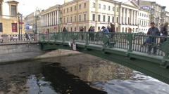 Petersburg Canal And Bridge Stock Footage