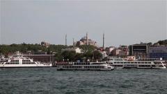 FERRIES & HAGHIA SOPHIA MOSQUE AYA SOFYA ISTANBUL TURKEY Stock Footage