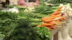 Organic Carrots at Market Stock Footage