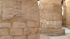 columns in karnak temple with ancient egypt hieroglyphics - stock footage