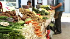 Organic Food at Market Stock Footage