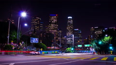 4K Downtown Los Angeles Traffic Intersection Timelapse Stock Footage