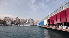 PASSENGER FERRIES GALATA BRIDGE ISTANBUL TURKEY Stock Footage