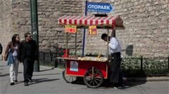 CORN & CHESTNUT SELLER & CART SULTANAHMET ISTANBUL TURKEY Stock Footage