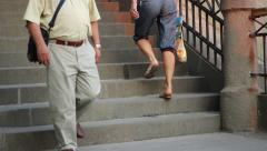 People Climbing Stone Stairs Arkistovideo