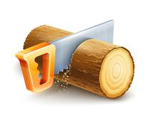Manual saw cutting wooden timber Stock Illustration