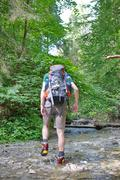 Slovakian paradise, slovakia - july 05: unknown hiker in slovakian paradise n Stock Photos