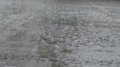 Rain on Pavement Plaza Stock Footage