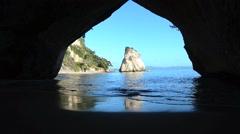 Te Whanganui-A-Hei Cathedral Cove Marine Reserve Stock Footage