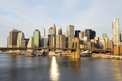Brooklyn Bridge in sunrise with Lower Manhattan background, New York City, USA Kuvituskuvat