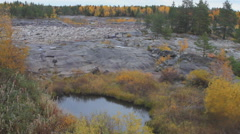 Exceptional view of the dry rocky riverbed and Northern autumn - stock footage