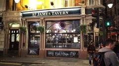 Original English Pub St James Tavern Stock Footage