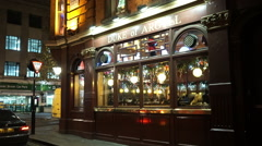 Authentic English pub The Duke of Argyll in London Stock Footage
