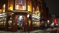 London street corner with British Pub Stock Footage