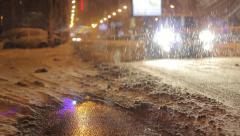 Snowy Night Street Traffic Stock Footage