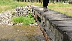 Steps on Small Pedestrian Bridge Stock Footage