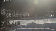 Snow village field in Austria Stock Footage