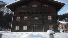 Austria Alps woodden house Stock Footage