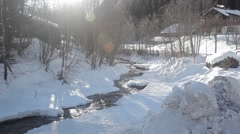 Sunny winter day with river Stock Footage
