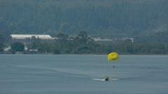 Parasailing over lake Rotorua New Zealand 01 Stock Footage