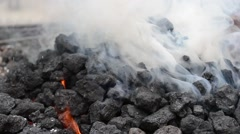 Thick White Smoke from Burning Coal Stock Footage