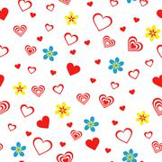 seamless pattern with hearts and flowers - stock illustration