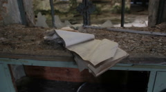 Abandoned factory: the notebook of the memory of a work of a distant time Stock Footage