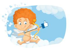 Cute Cupid Cartoon in Internet Online Dating Concept Vector - stock illustration