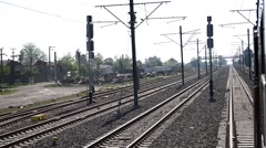 Train Passes Slowly Railroad Yard Stock Footage