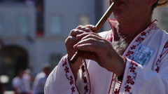 Traditional Wood Flute Singer Stock Footage