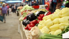 Vegetables for Sale at Market - stock footage
