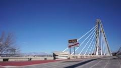 Cars Crossing Bridge in Valencia, Spain. Stock Footage