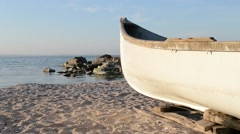 Wood Fishing Boat at Shore Stock Footage