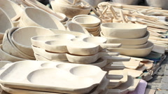 Wood Dishes Stock Footage