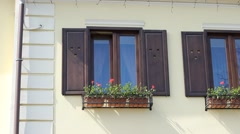 Wooden Windows Frames Stock Footage