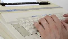 Writing to a 1980s  Electric Typewriter Machine Stock Footage