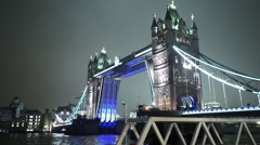Open and closing Tower Bridge in London great night shot - stock footage