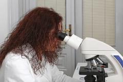 microscopy technician - stock photo