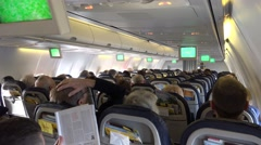 4k Passenger cabin inflight Boeing 737-800 holidays aeroplane Stock Footage